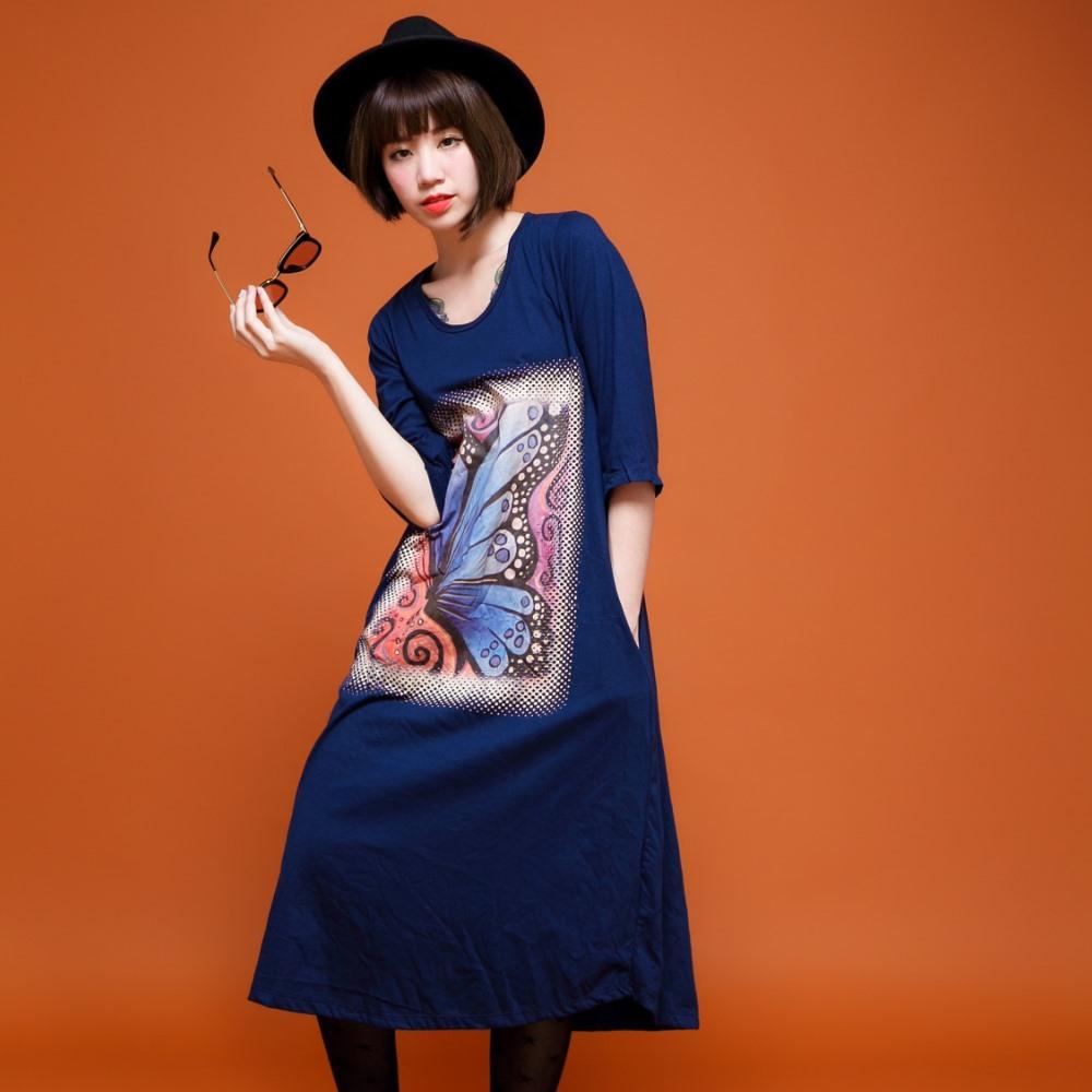 古著 藍色大蝴蝶漩渦圖印側拉口袋七分袖棉質長洋裝