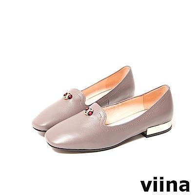 viina-休閒系列-典雅小logo配色織帶樂福鞋-質感藕灰