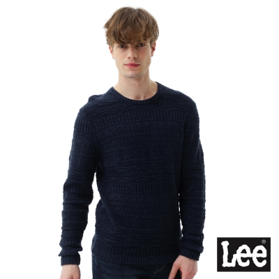 Lee 長袖圓領厚TEE-男款-寶藍色