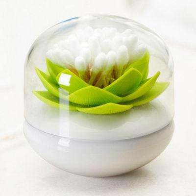 iSFun 綻放蓮花 附蓋防塵棉花牙籤筒 綠8.5x8.5x9cm