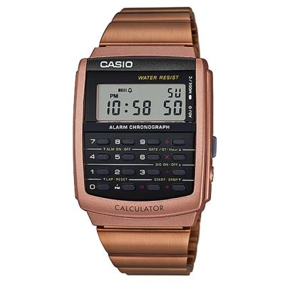 CASIO 潮流時尚經典復古8位元計算商務錶(CA-506C-5)古銅金/34.8mm