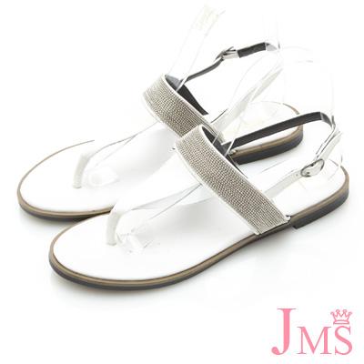 JMS-性感珠鍊T字環裸夾腳涼鞋-白色