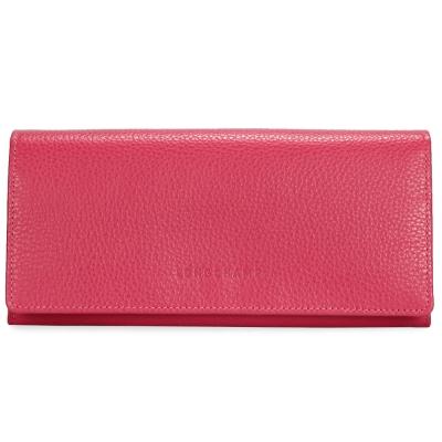 Longchamp Le Foulonne素面荔枝紋皮革壓釦長夾-粉紅色