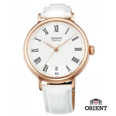 ORIENT 東方錶 ELEGANT系列 羅馬假期復古機械女錶-白x玫瑰金框/37.5mm