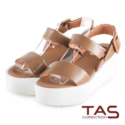 TAS-太妃Q系列-一字寬版雙繫帶厚底涼鞋-復古卡