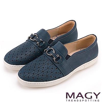 MAGY 舒適樂活 星星簍空真皮百搭休閒鞋-藍色