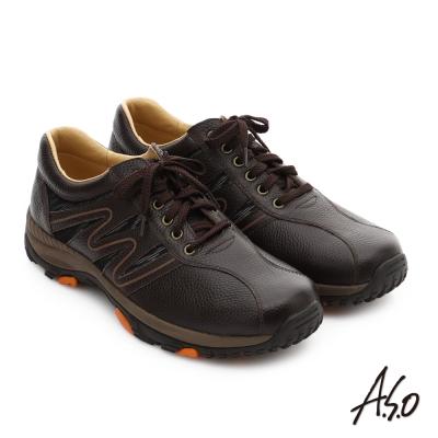 A.S.O 3D超動能 摔花牛皮彈力綁帶奈米休閒鞋 咖啡色