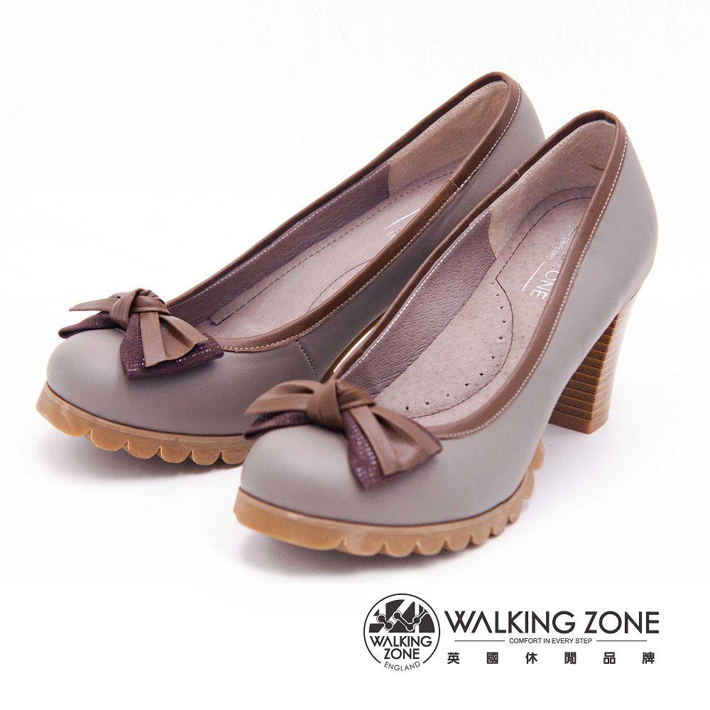 【WALKING ZONE】典雅蝴蝶結造型舒適高跟女鞋-灰(另有黑)