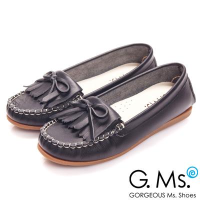 G.Ms. MIT系列-舒適牛皮流蘇蝴蝶結莫卡辛鞋-經典黑