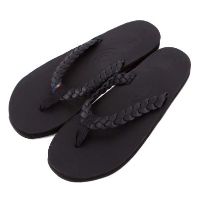 Rainbow Sandals美國全真皮夾腳編織休閒拖鞋-黑色