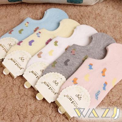Wazi-小襪子圖棉質踝襪隱形襪 (1組五入)