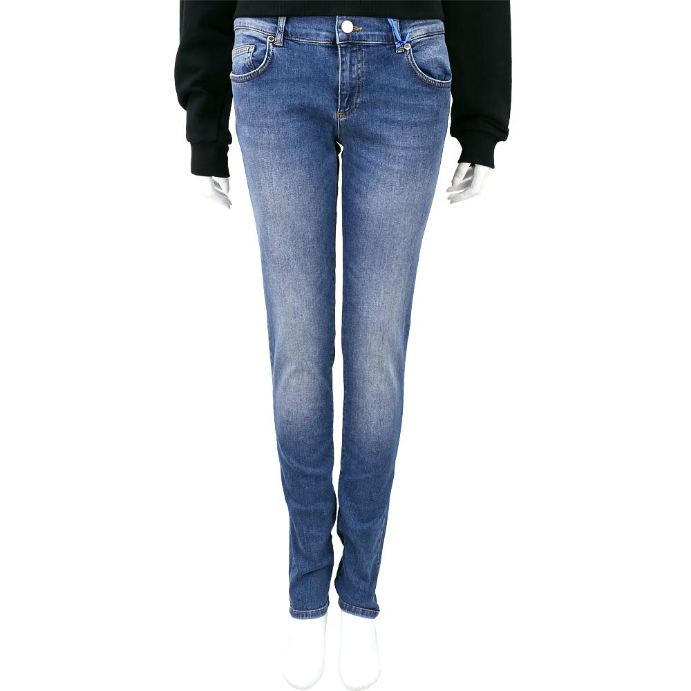 VERSACE 藍色刺繡仿舊刷色牛仔褲