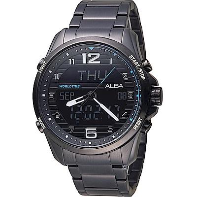 ALBA 雅柏 玩轉時尚雙顯計時腕錶(AZ4023X1)雙顯/44mm