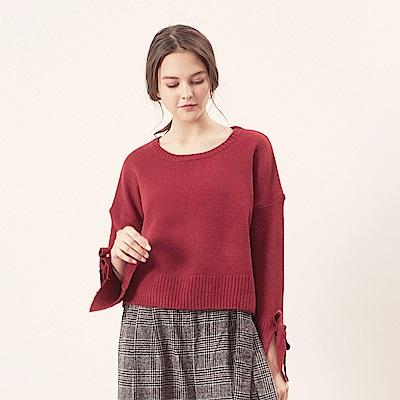 CACO-袖綁結粗針織上衣(三色)-女【NCH224】