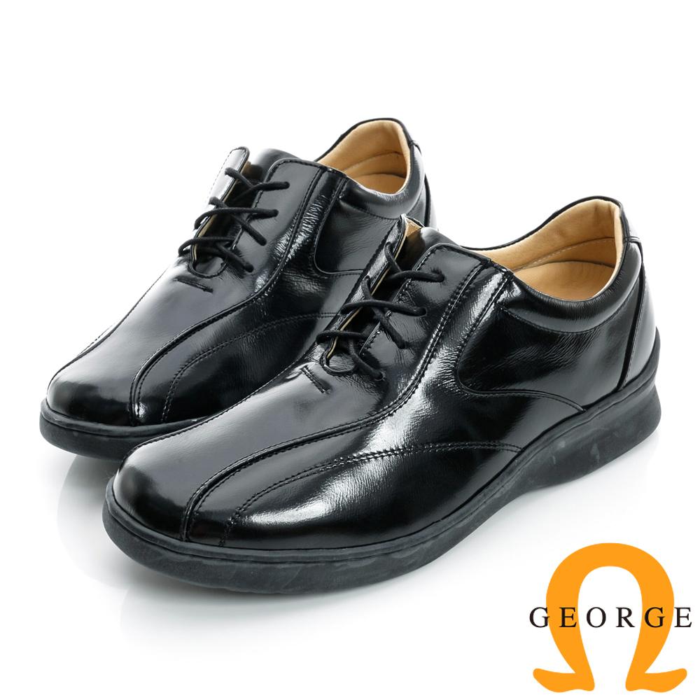 GEORGE-加厚底真皮綁帶素面皮鞋-黑色