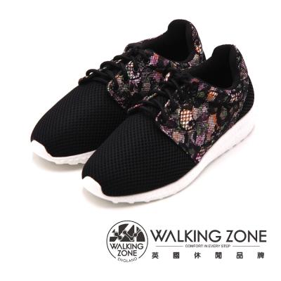 WALKING ZONE 花漾蕾絲網布運動慢跑 女鞋-黑(另有白)