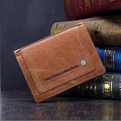 leaper CONTACTS頭層油臘皮活動式零錢袋直式短夾