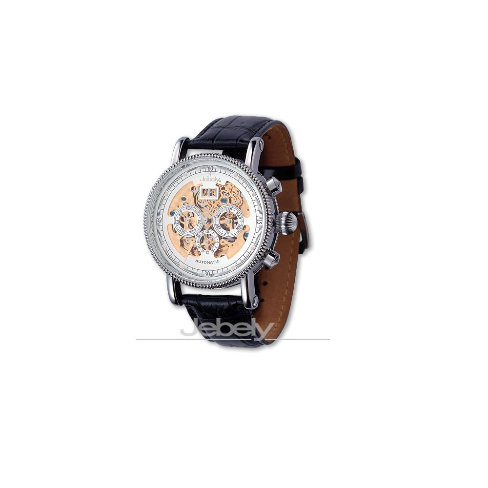 【Jebely】阿爾卑斯山尊貴三眼機械錶(經典白)