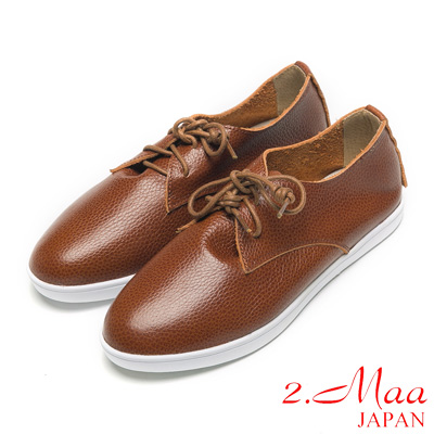2.Maa全真皮系列-獨家設計牛皮休閒便鞋-咖