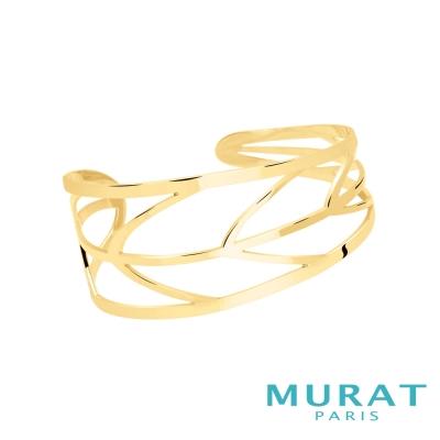 MURAT Paris米哈巴黎 優雅鏤空葉片寬手環(金色款)