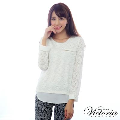 Victoria 全蕾絲口袋拉鍊長袖T-女-白色