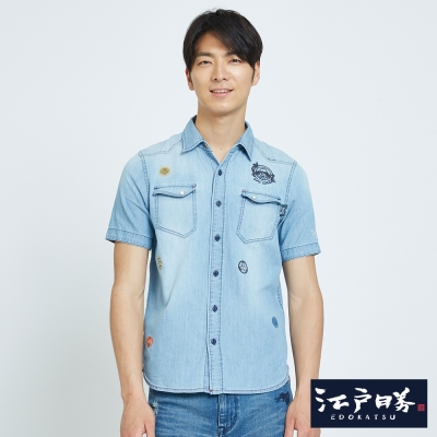 EDWIN EDO KATSU 江戶勝刺繡短袖襯衫-男-重漂藍