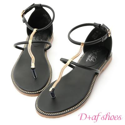 D+AF 絕美焦點.金屬鍊條細帶平底涼鞋*黑