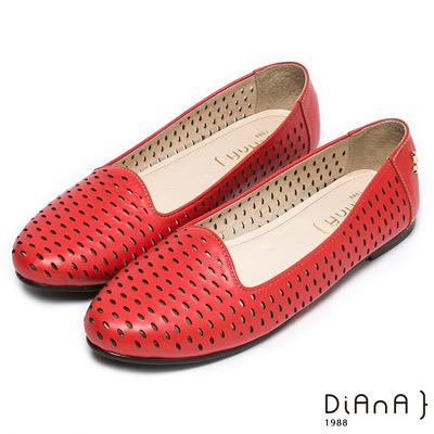 DIANA經典百搭--圓滿引領緣滿真皮鏤空平底娃娃鞋-紅