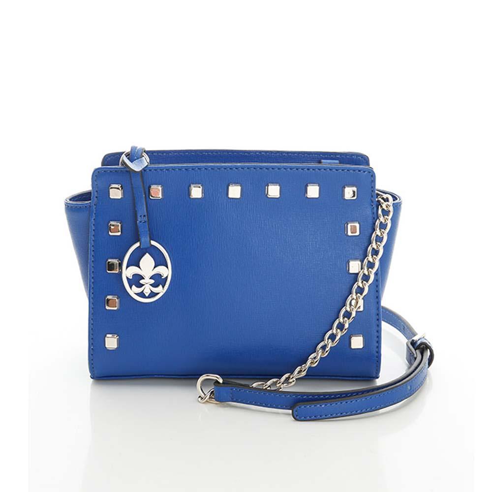 義大利BGilio - 搖滾甜美十字紋牛皮鍊帶包 - 藍色2291.001-09
