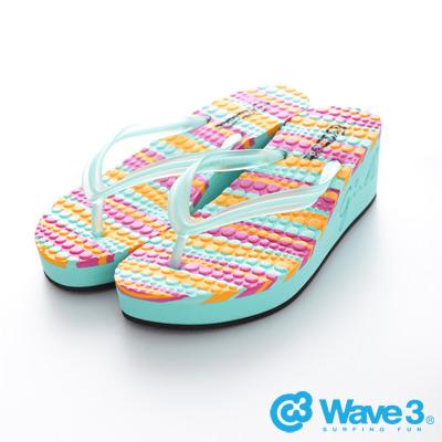 WAVE3【女】台灣製果凍耳帶厚底人字夾腳拖~果綠