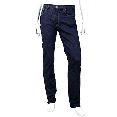 TRUSSARDI 經典皮革標深藍棉質牛仔褲