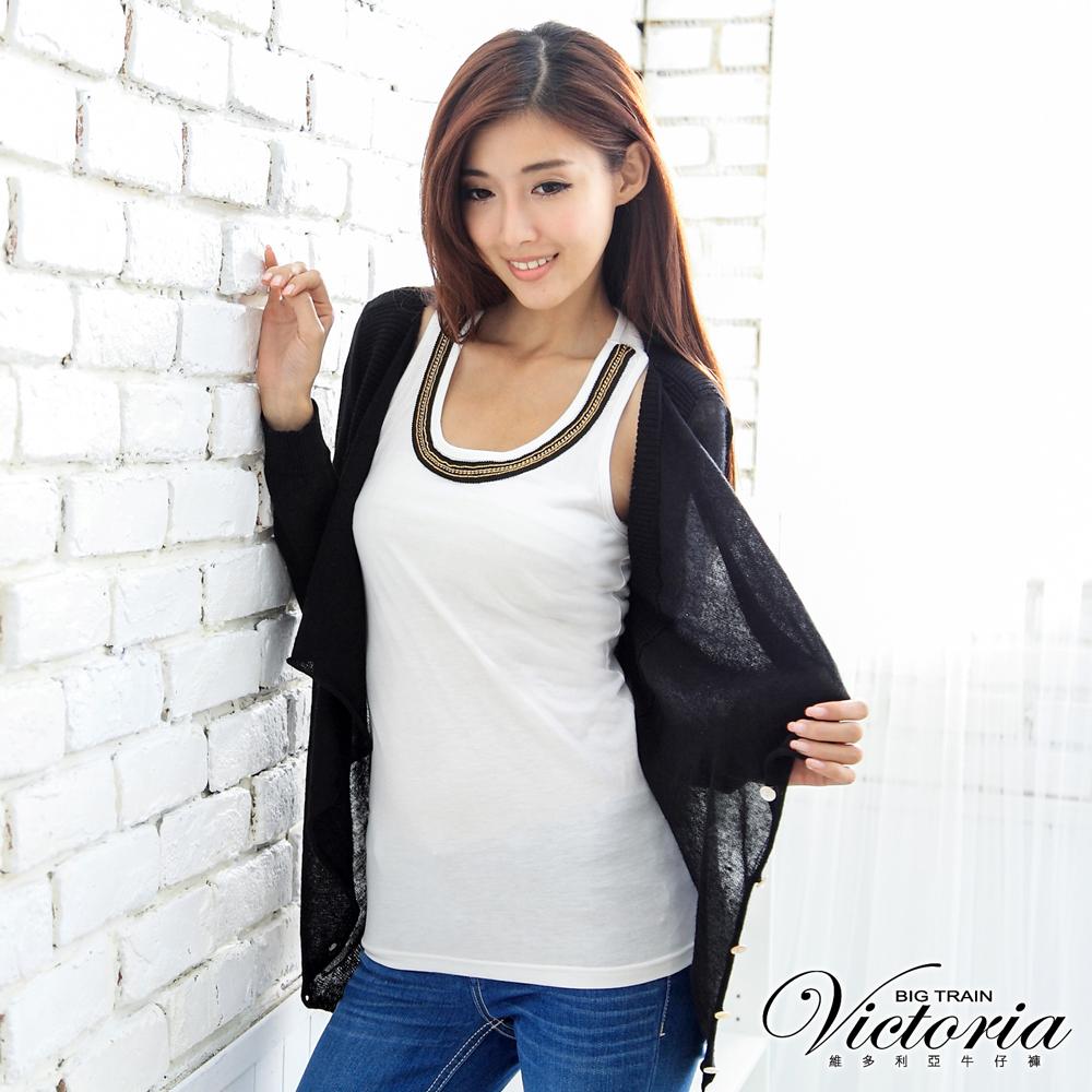 Victoria 羅紋裝飾垂墜感針織外套-女-黑色