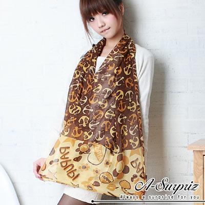 A-Surpriz 微笑花語音符棉紗圍巾(知性咖)