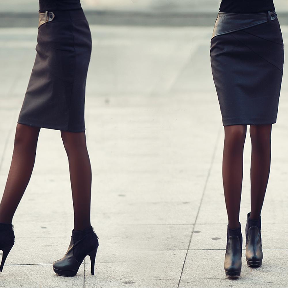 N.C21-異材質皮革腰帶設計感窄裙 (共三色)