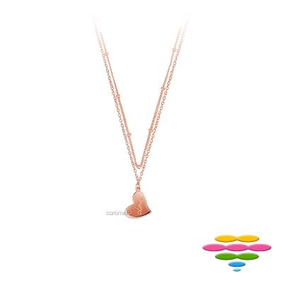 彩糖鑽工坊 愛心玫瑰金項鍊 雙鍊項鍊 桃樂絲Doris系列
