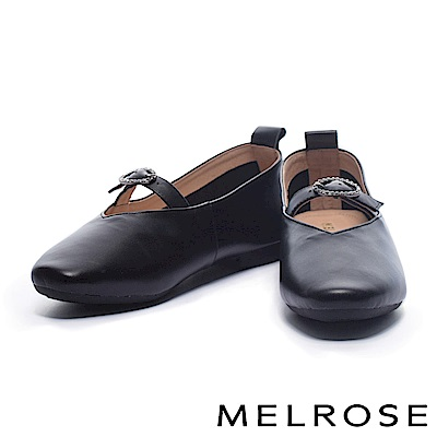 娃娃鞋 MELROSE 復古亮眼金鑽釦設計光澤牛皮娃娃鞋-黑