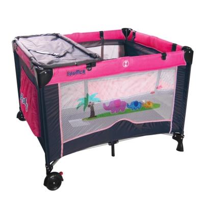 寶盟BAUMER 親子象遊戲床(玫瑰紅) 加雙層架及尿布台