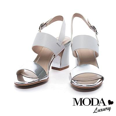 涼鞋 MODA Luxury 摩登簡約鏡面寬帶粗高跟涼鞋-白