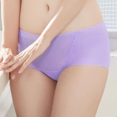 推Audrey-提花舒波 中腰平口褲(水漾紫)