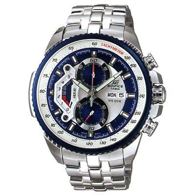 EDIFICE 新美學大錶面計速賽車指針錶-藍框/51mm