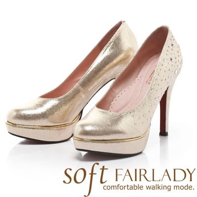 Fair Lady Soft芯太軟 璀璨水鑽宴會高跟鞋 香檳