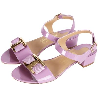 Salvatore Ferragamo Marie 經典漆皮低跟涼鞋(粉紫色)