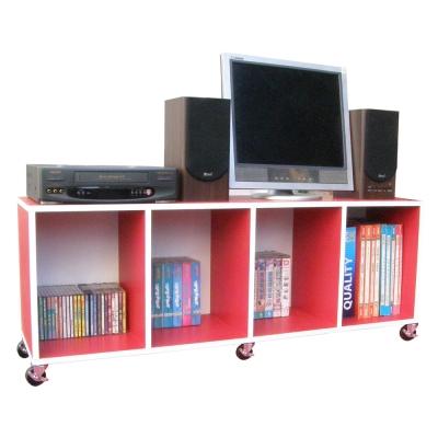 Dr.DIY 120寬耐重型-電視櫃附輪子紅白色