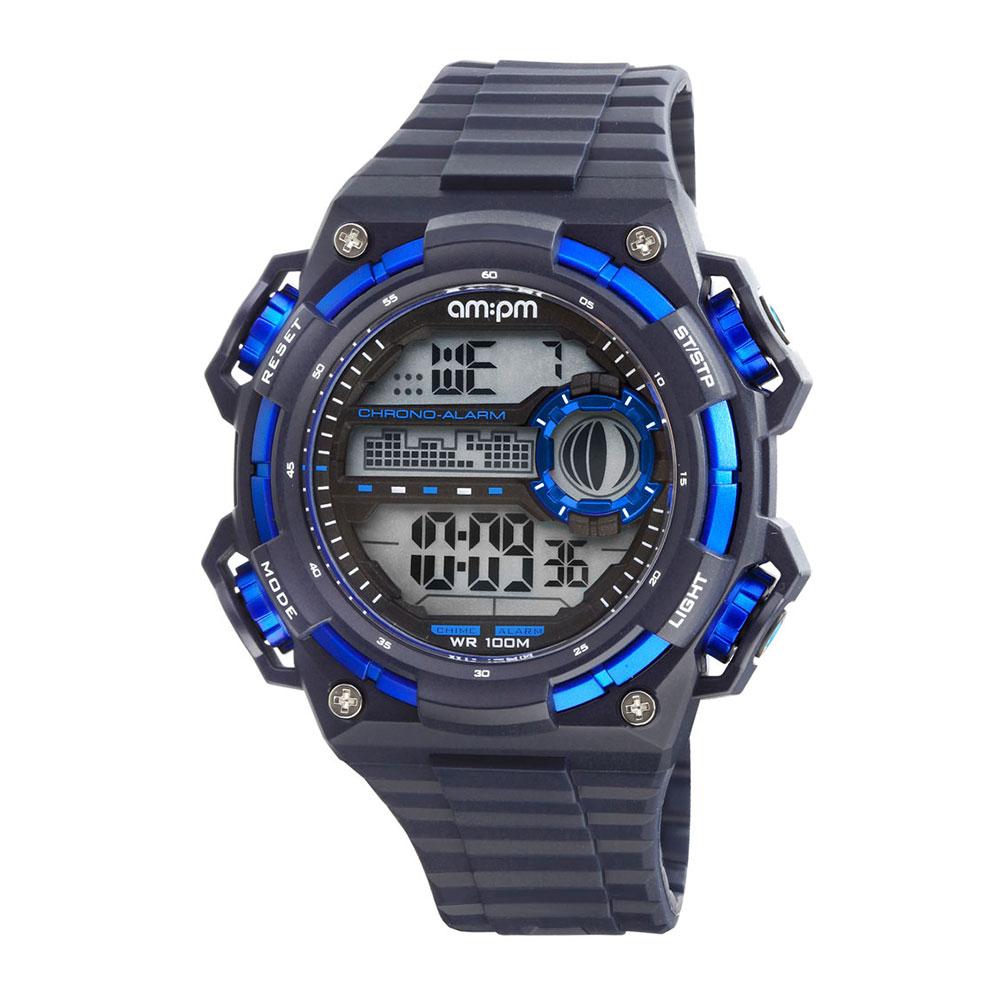 AM:PM瑞士精品手錶 DIGITAL運動系列 黑X藍錶框 電子式錶盤/深藍色錶帶49mm