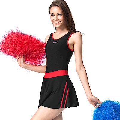 速霸 泳裝 紅條腰飾連身裙式女泳裝