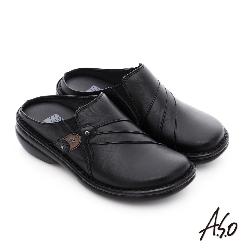 A.S.O 手縫氣墊3E寬楦 真皮抓皺鬆緊帶懶人鞋 黑色
