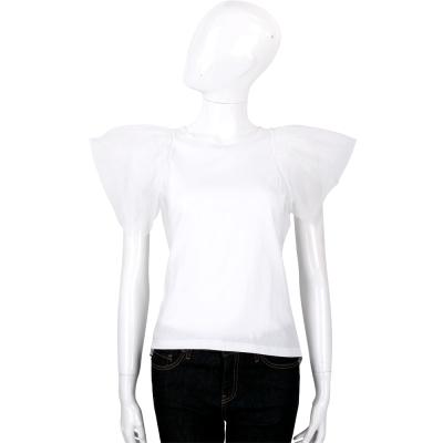 EDWARD ACHOUR PARIS 白色紗質袖口設計棉料T恤