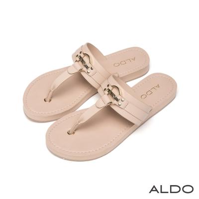 ALDO-原色金屬LOGO鏤空T字夾腳涼鞋-清新裸