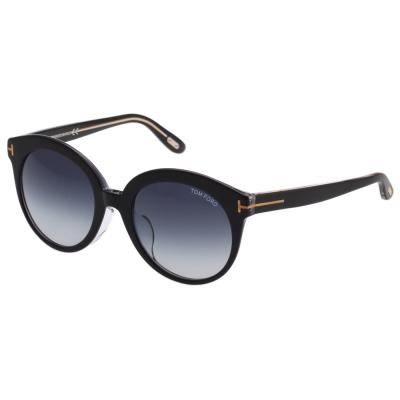 TOM FORD 復古圓框 太陽眼鏡-黑色-TOM429F