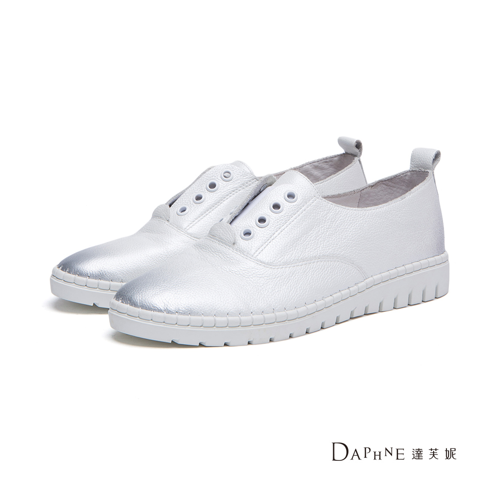達芙妮DAPHNE懶人鞋-真皮珠光金屬刷色休閒鞋-白